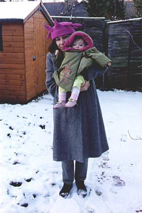 Me and my Mum in our garden in the snow. 21kb